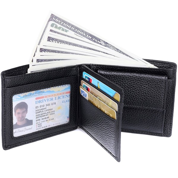 8976a049c495 RFID Blocking Wallet for Men - Genuine Leather Bifold Wallet With Coin  Pocket - Black - CH12N27MYHA