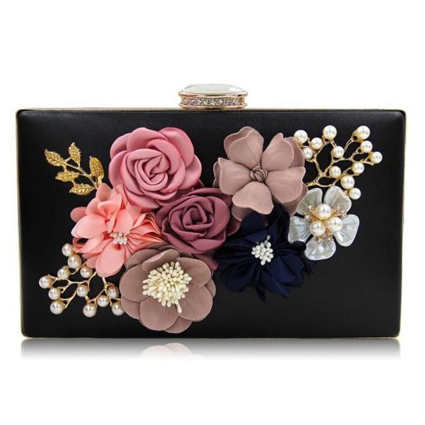 8f821d94e80 Womens Satin Flower Evening Clutch Bag Pearl Beaded Wedding Bridal Purse  Prom Party Handbag - Black - CW1869E5AO6