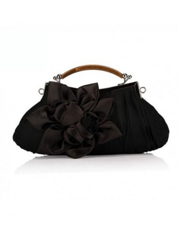 Extravagance Graceful Wrinkles Decoration Clutch Black