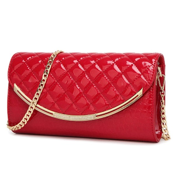 a2c3efd71f8 Women Fashion Leather Wedding Evening Bridal Clutch Purse Red