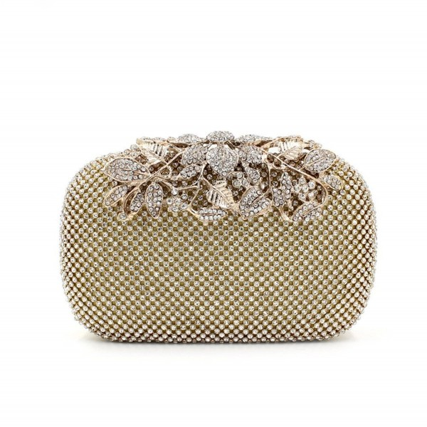 0b2389d9ce Gold Clutch Purses Classy Flower for Women Luxury Rhinestone Crystal ...