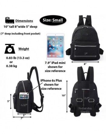 9707ce641be28f Lily & Drew Nylon Casual Travel Daypack Backpack Purse - Small Black ...