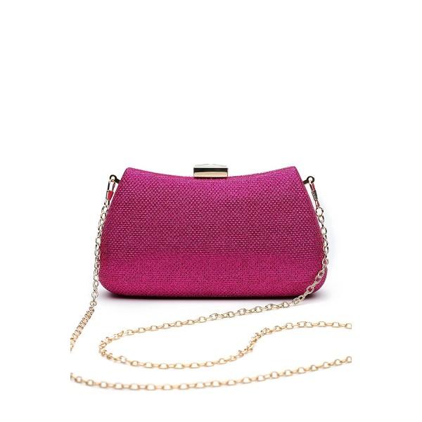 Clutch Evening Glitter Handbag fuchsia