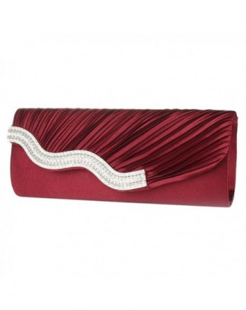 GALLERY Rhinestone Crystal Pleated burgundy