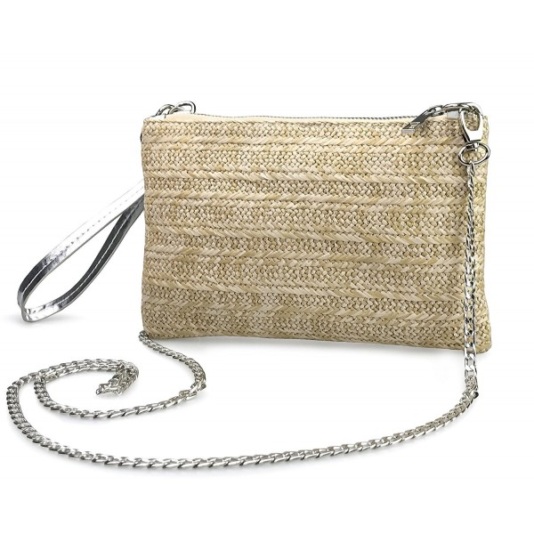 Zipper Wristlet Clutch Womens Silver