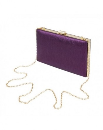 Elegant Leather Clutch Evening Purple
