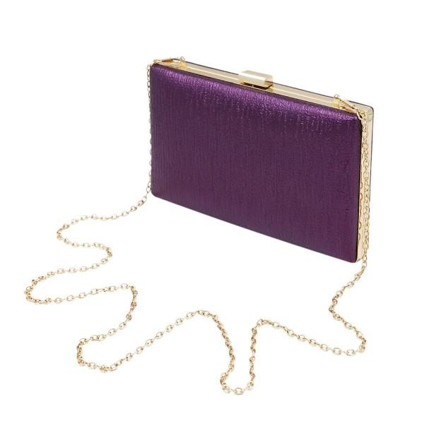 Elegant Leather Clutch Evening Purple
