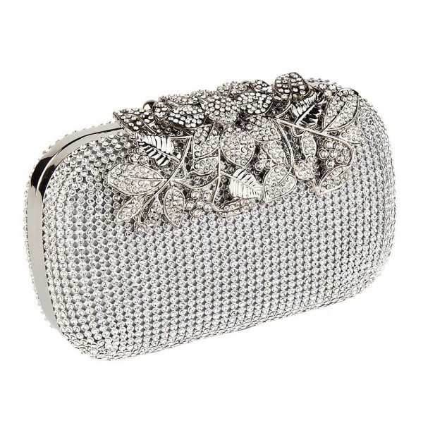 Bling Silver Diamante Diamond Crystal Evening bag Clutch Purse Party Prom Bride