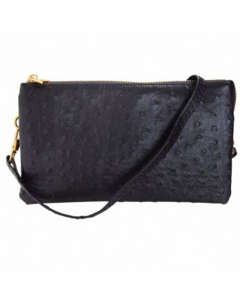 Humble Chic Leather Ostrich Wristlet