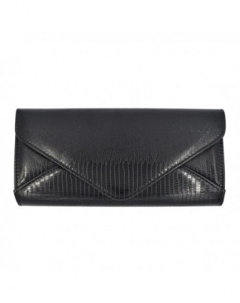 Leather Textured Envelope Evening Handbag