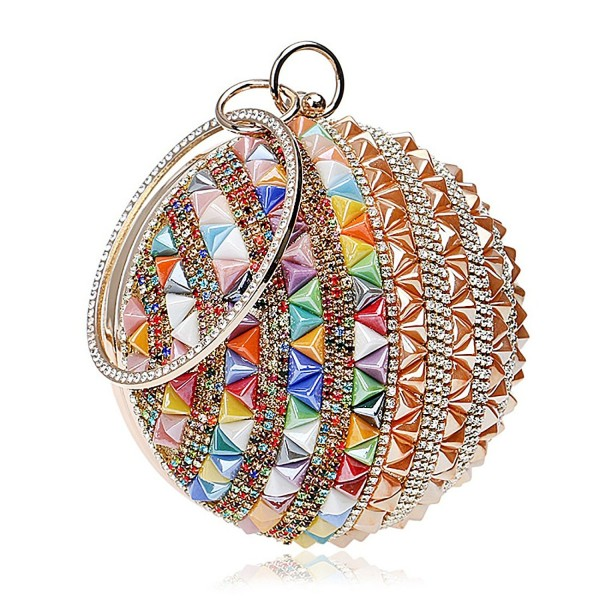 Woman Round Ball Clutch Handbag Rhinestone Ring Handle Purse Evening ...