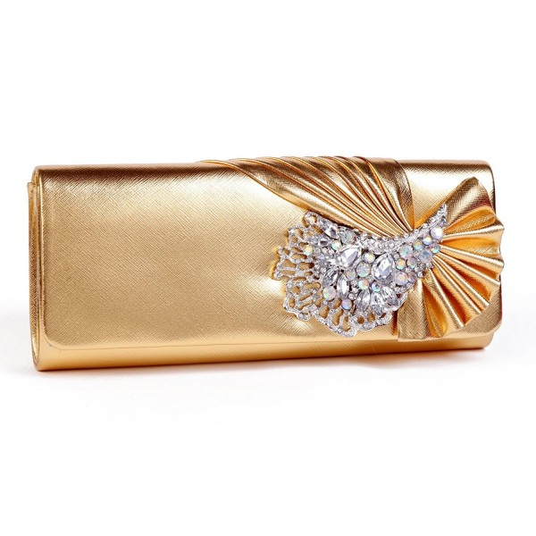 Damara Crystals Leather Pleated Clutches