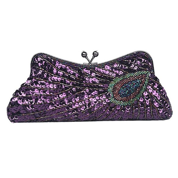 Lifewish Handbag Beaded Peacock Sequins