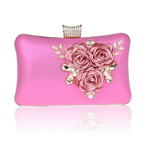 0aa4614462a44 ... Women Large Capacity Flora Evening Clutch Bags Wedding Party Purse  Handbags Wallet - Rose Red - CU186GM95KY. EPLAZA Capacity Evening Wedding  Handbags