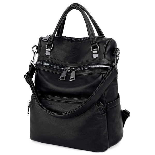UTO Women Large Size Backpack Purse PU Washed Leather Double Front Zipper Ladies