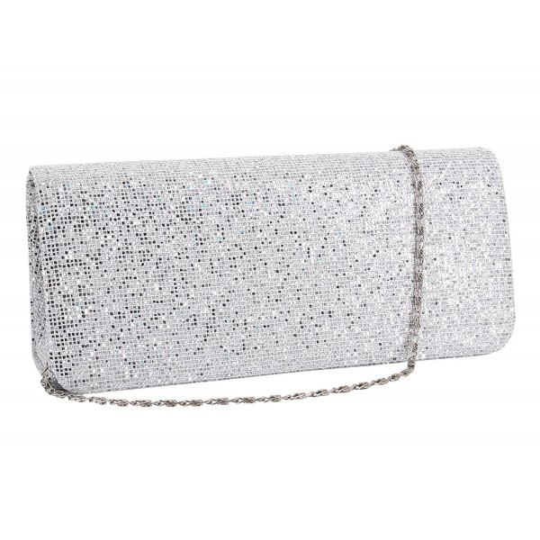 5b3b478d45 Womens Evening Shoulder Bag Handbag Clutch Purse Glitter Shiny Sequins for  Wedding Prom Party - Silver - CJ187USYMZG