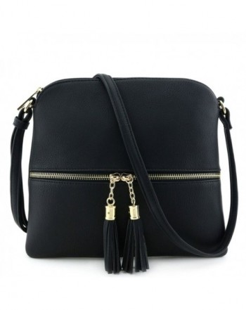 Lightweight Medium Crossbody Tassel Black
