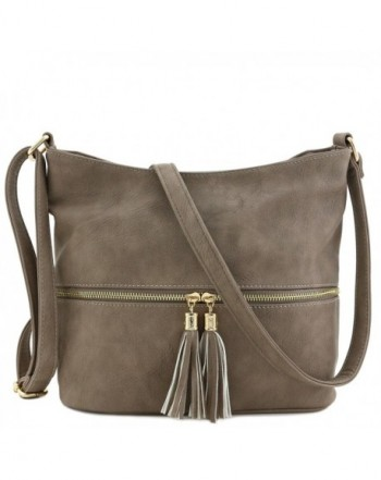 Tassel Zipper Bucket Crossbody Taupe