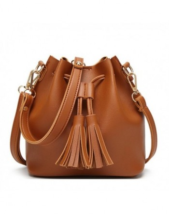 Brown Crossbody Bucket Drawstring Tassel