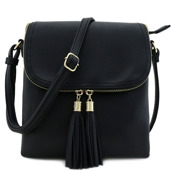 Double Compartment Crossbody Tassel Accent