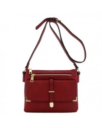 Flap Pocket Crossbody Bag Burgundy