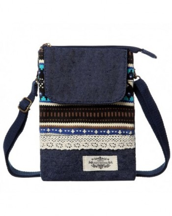 897c2ea28ce Cell Phone Purse Wallet Canvas National Style Women Small Crossbody Purse  Bags - Blue - CR189XNN0S2