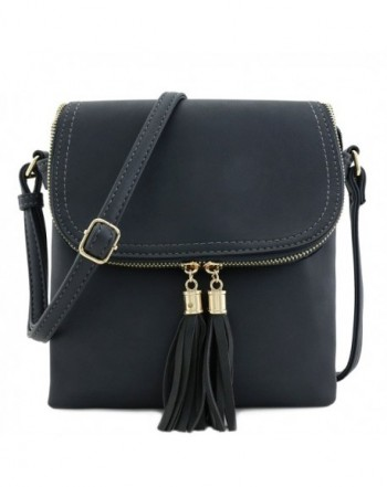 Double Compartment Crossbody Tassel Charcoal