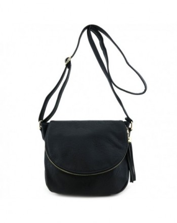 Tassel Accent Crossbody Flap Black