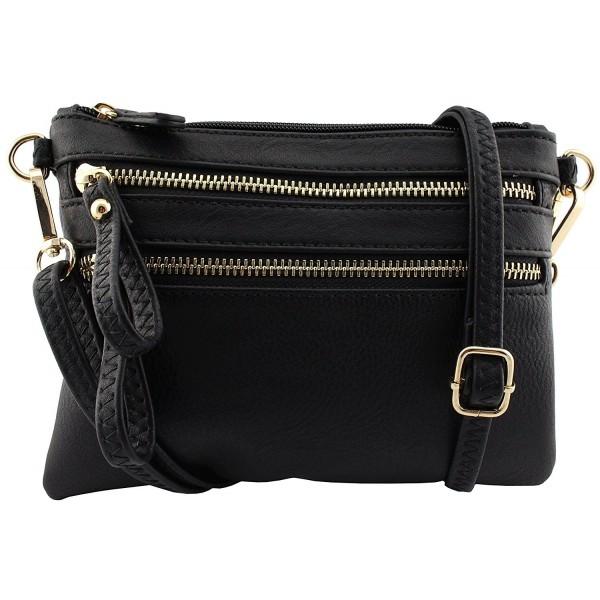 ... faux leather multi pockets multi functional crossbody bag with wristlet  strap - Black - CX182Q8URC9. Amy Joey leather functional wristlet 08728fbfd7cb9