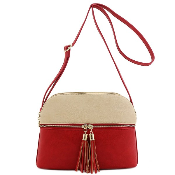 Double Tassel Accent Medium Crossbody