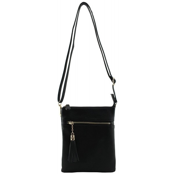 leather functional compartment wristlet tassels