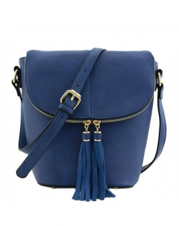 Flap Bucket Crossbody Tassel Accent