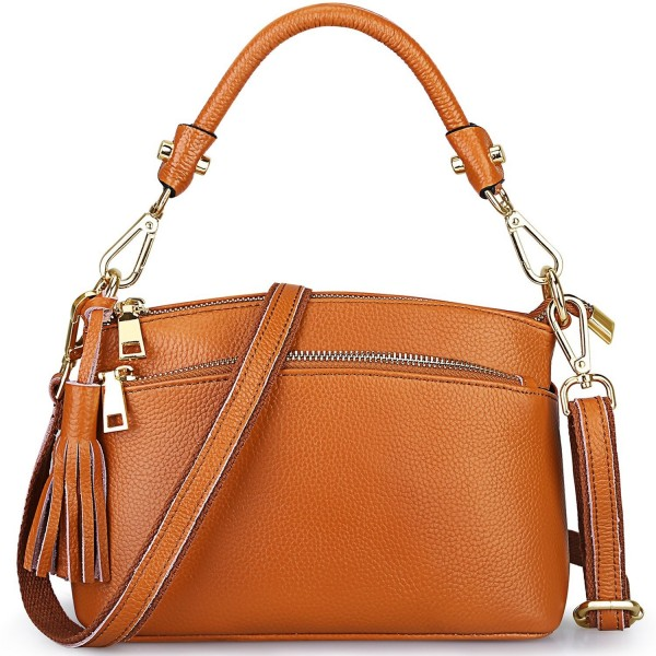 633b109769b4 S-ZONE Women s Small Genuine Leather Multi Zipper Crossbody Bag Top ...