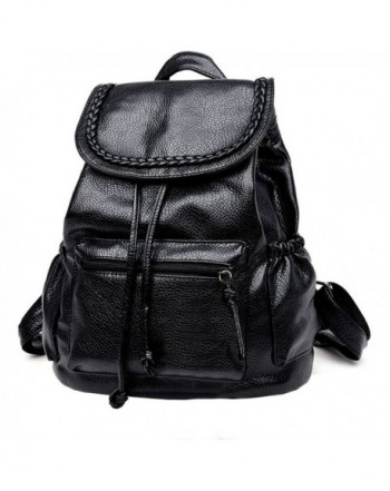small washed leather backpack drawstring