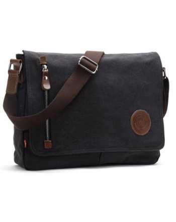 Magictodoor Vintage Canvas Messenger Black