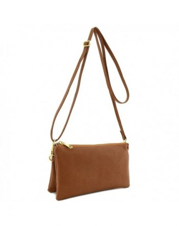 Soft Leather Wristlet Crossbody Camel