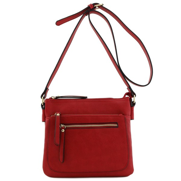 Double Compartment Medium Crossbody Bag Red