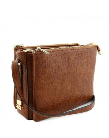 Three Compartment Zipper Crossbody Brown