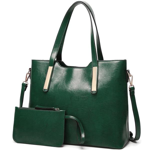 126e72fe363 Women Top Handle Satchel Purses and Handbags Shoulder Tote Bags Wallet Sets  - Green - C8189MX3YWL