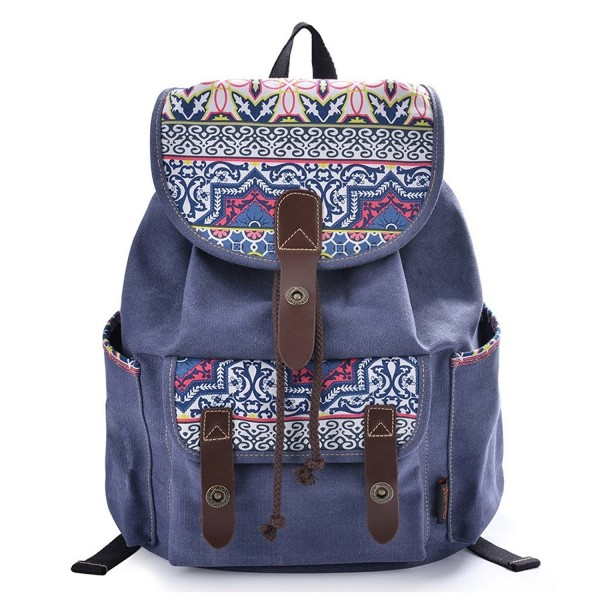 cf41841e2 Home · Women's Bags · Backpacks · Women Floral Print Casual Canvas Backpack  Rucksack Cute School Backpack - Blue - C3127X3KQKH. Douguyan Backpack  Rucksack ...