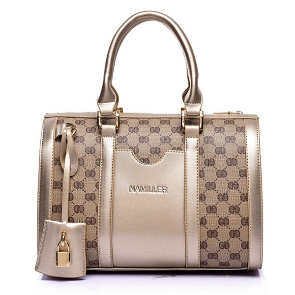 MICOM Casual Signature Printing Pu Leather Tote Shoulder Handbag with Metal Decoration for Women