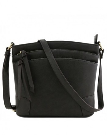 Triple Zipper Pocket Crossbody Charcoal