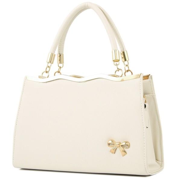 YINGPEI Womens Handbags Beige Leather