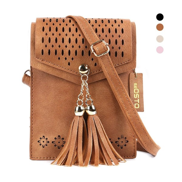 e5f4677c797c Women Small Crossbody Bag Tassel Cell Phone Purse Wallet Bags - Brown -  CJ184RNYRMX